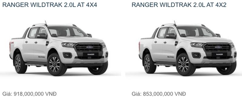 So sánh Ford Ranger Wildtrak 2019 phiên bản 1 cầu và 2 cầu nên mua bản nào?